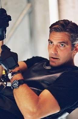 George Clooney wearing a Luminox watch in, 'Ocean's Eleven'.